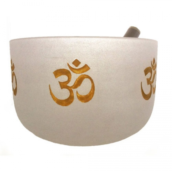 White Frosted Gold Ohm Crystal Singing Bowl